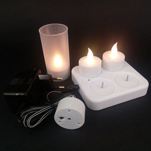 Set of 4 Charging Flameless bright LED Tea Lights Candle with Plastic Cup