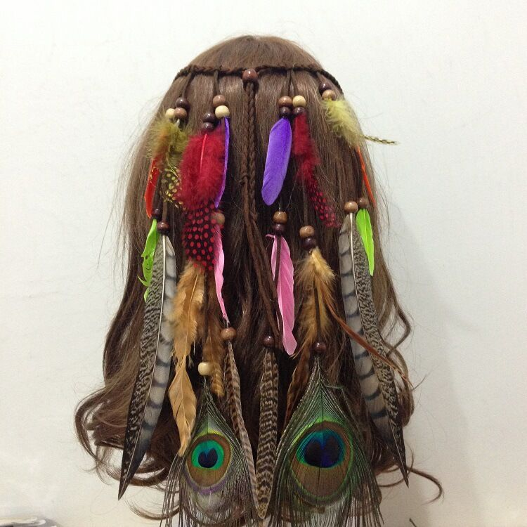 Custom premium quality rope carnival festival headdress beads hair bohemia peacock feather headband
