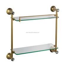Wall mounted bathroom shower glass accessory decorative shelf