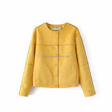 Synthetic leather women latest design short coat ladies fancy suede jacket