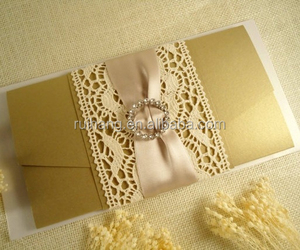 Elegant Golden Unique Luxury wedding invitation cards