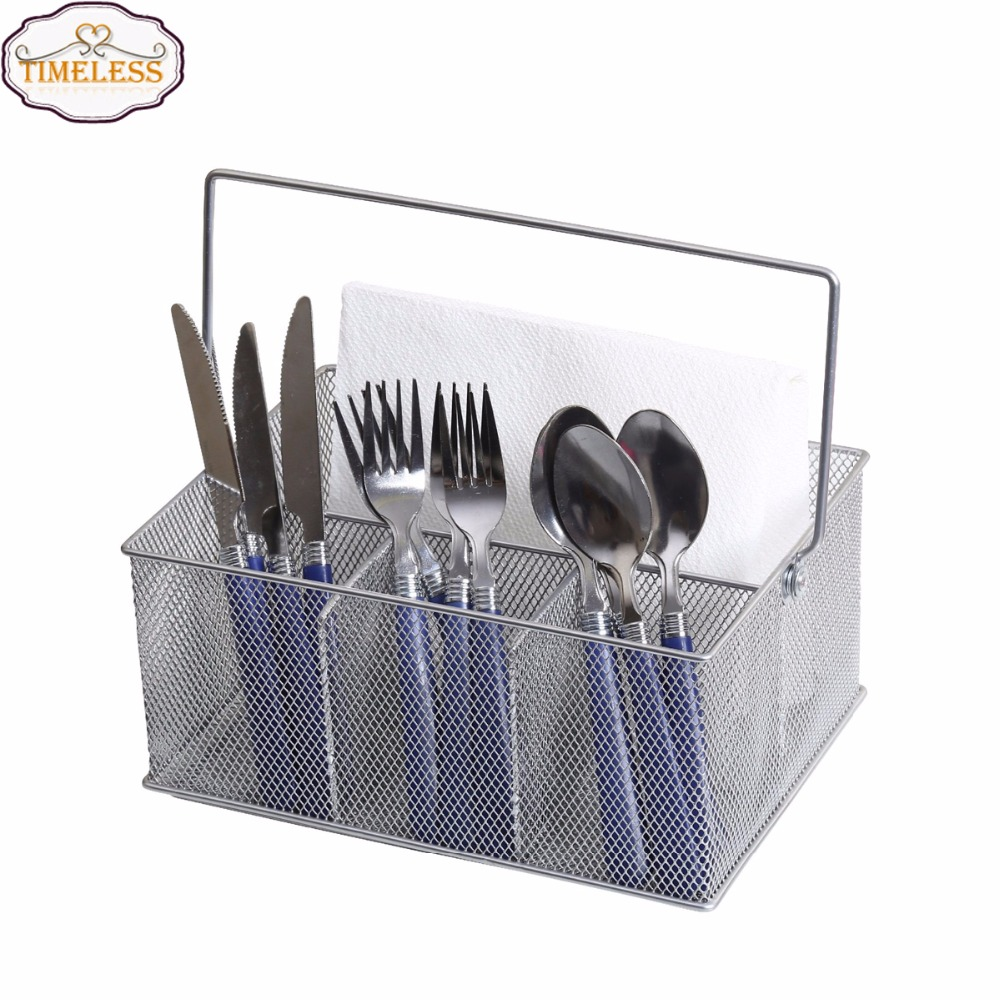 Hot Sale Mesh Silver Metal Utensil Caddy Basket Condiment Organizer For Kitchen