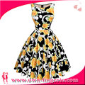 Ladies puff sexy sunflower dresses floral printed party prom dresses