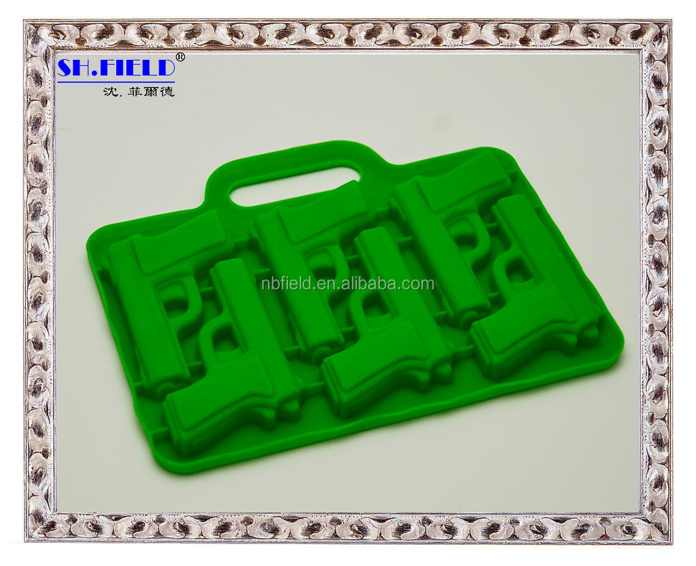 Pistol shape silicone custom ice cube tray