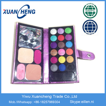 Made in China good quality colorful eyeshadow ,eyeshadow leather book ,18 color eyeshdow with blusher and powder cake palette