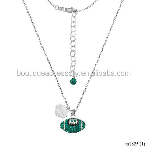 Fashion Silver Jewelry Pave Diamonds Football Pendant Necklace