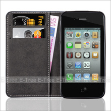 flip leather phone case for iphone 4 cover, tpu +pu leather mobile shell for apple iphone4