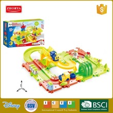 park theme series kids 3D smart slot car building brick baby electric train track building block