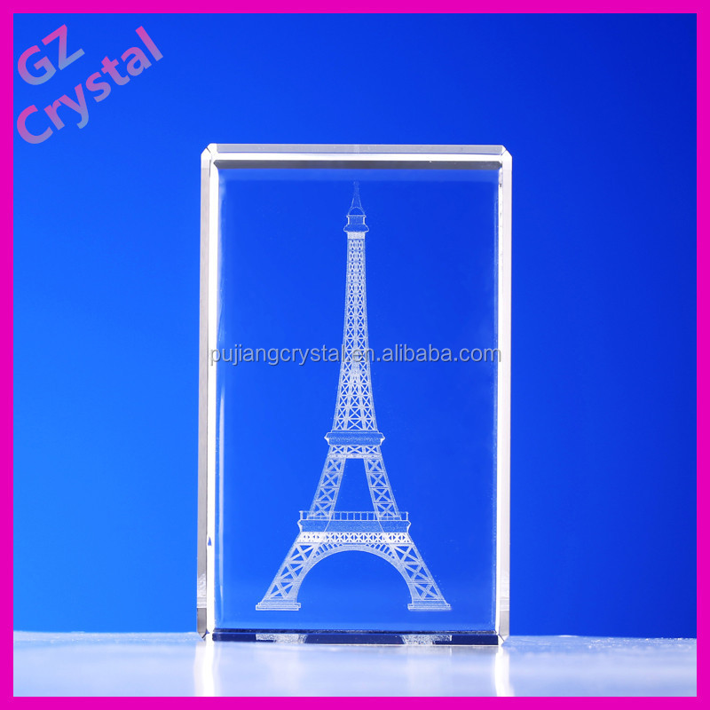 Popular Crystal Laser Engraving Eiffel Tower For Tourist Souvenir