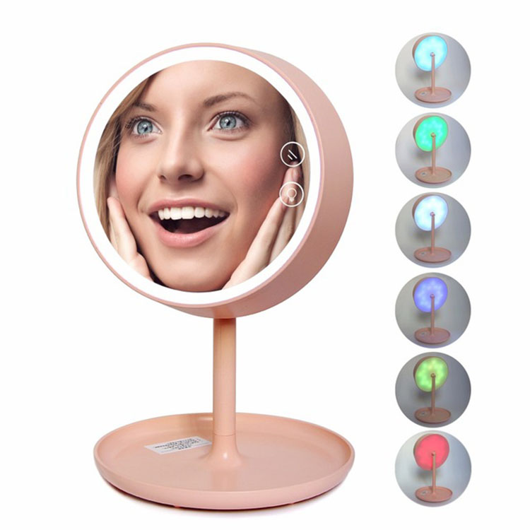 LED Touch Screen Vanity Mirror With LED Lights Professional Makeup Mirror USB Chargeable Three Function Table Lamps Storage Box