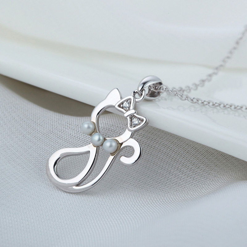 Hot natural pearl 925 sterling silver pendant little cat pendant necklace