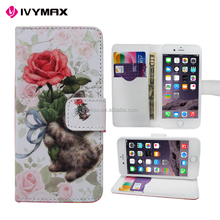 Top selling leather wallet flip case cover printing premium PU mobile accessories for apple iphone 6