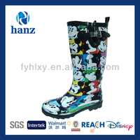 mickey mouse printed rubber women custom women wellies boots with side buckle and scattered pieces knee boot
