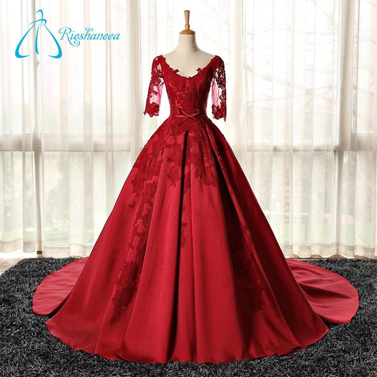 Ball Gowns Tulle Lace Appliques Satin Party Dresses For Fat Girls