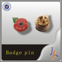 custom metal no molding fee poppy badge buttons