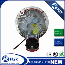 Super quality Two colors White and Black 7 Inch CREE 60W Round Great White LED Driving lights