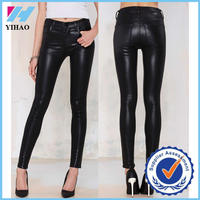 Yihao 2015 new fashion women's high waisted tight sex skinny stretch PU leather pants