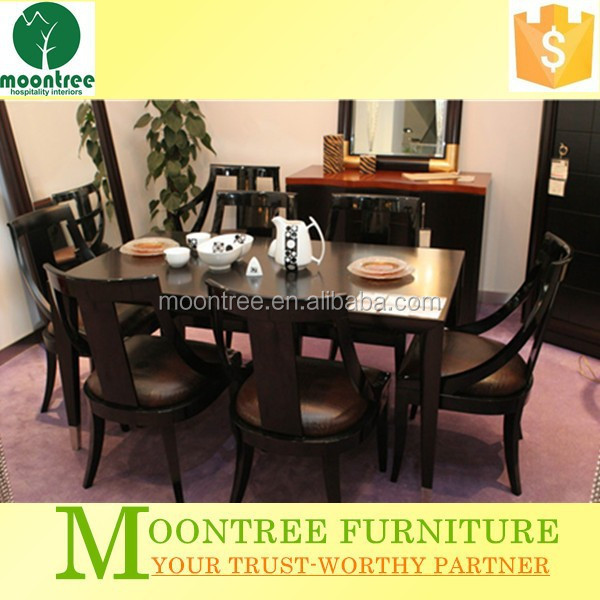 Moontree MDR-1304 black lacquer dining room furniture sets