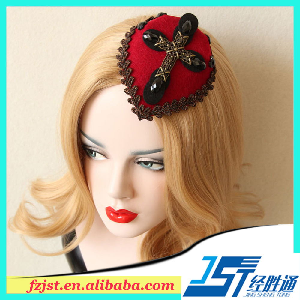 Vintage hot sexy red mini lace hat girls hair accessories wholesale