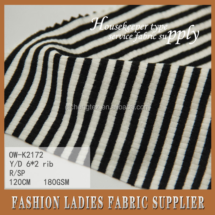 2016 fabric new trend rayon/span y/d rib fabric 6*2 rib knit fabric for garments
