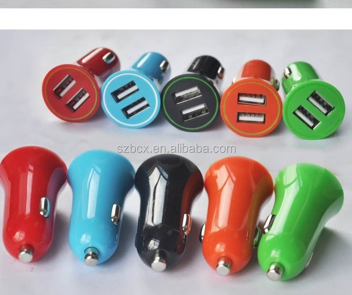 Colourful Factory sales Dual Port USB CAR Charger for fast charging