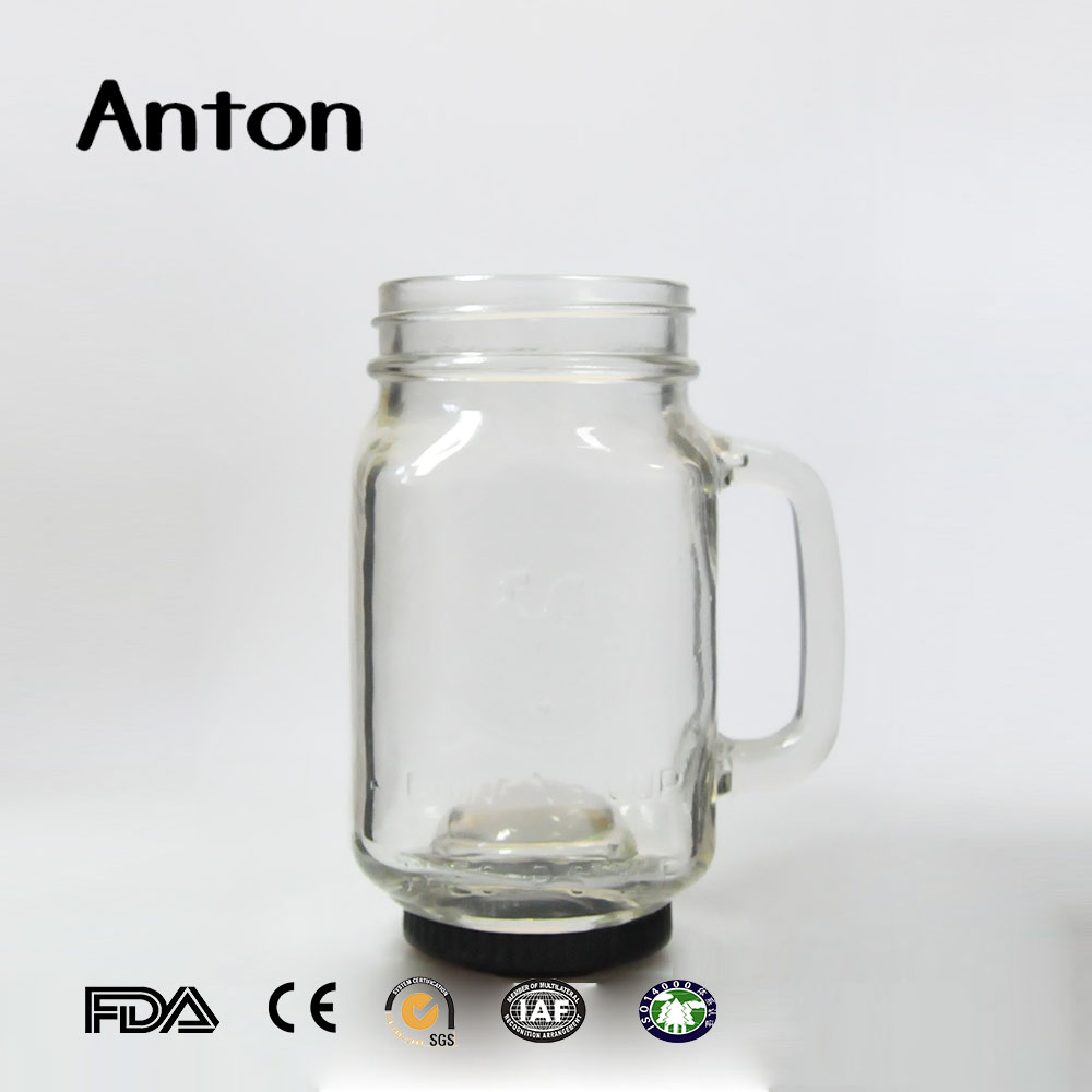 250ml 8oz eco clear square mason jar w/Silver lid