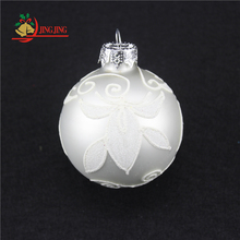 Customized Elegant Design Xmas Tree Hanging Hand Painted Shiny White Glass Christmas Ball