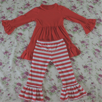 OEM baby girl knit cotton red plain dress with ruffle pants outfit children's wholesale boutique christmas clothing sets