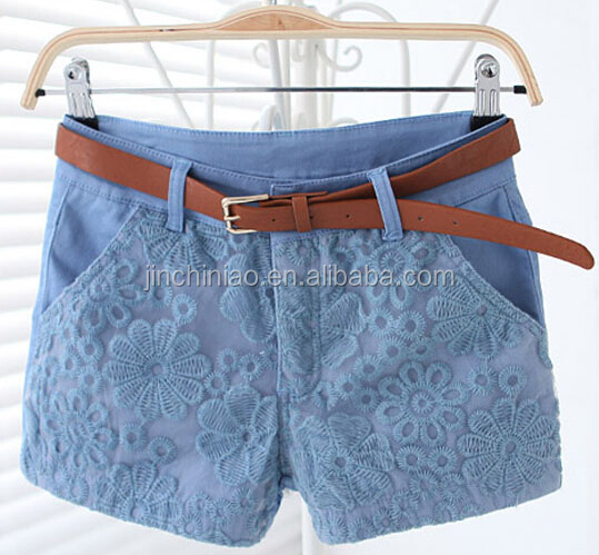 women fashion canvas shorts with lace in front and belts