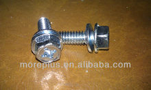 SQUARE & PHILIP DRIVE, INDENT HEX WASHER HEAD, MACHINE SCREW SEMS WITH TYPE L NARROW CONICAL WASHER