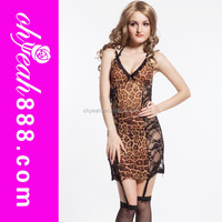 Include garter belt fashion design 2015 Leopard print sexy sexy sleeping lingerie