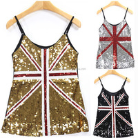 TOP QUALITY New Design attractive Off-shoulder black Sequin Top flag printed