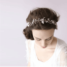 Wedding Hair Accessories Gold Copper Alloy Shiny Crystal Pearl Flower Shape Hair Band