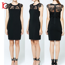 Guangzhou clothing factory price round neck mini black clothes women dress with lace decorations