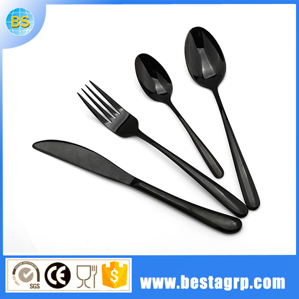 flatware 18/10 black metal cutlery, cutlery black, titanium flatware