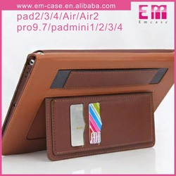 Card Slot Leather Tab Case For iPad Mini, Wallet Tab Case For iPad 2/3/4 Tablet