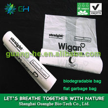 100% biodegradable pla bin bag/compostable garbage bag rolls/cornstarched bag