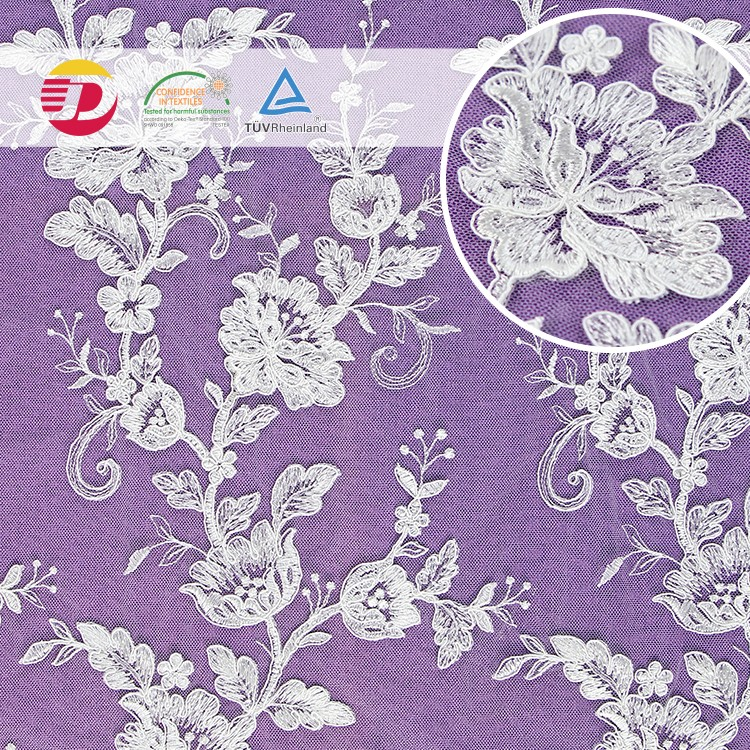 Factory high quality white <strong>cheap</strong> wedding african guipure 3D embroidery lace fabric for wedding dress
