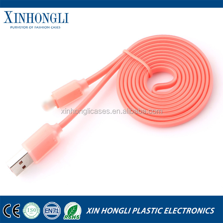 New hot sales full colour 100CM for apple iphone 5 5s 5c 6 plus flat noodle usb data cable power charging date line