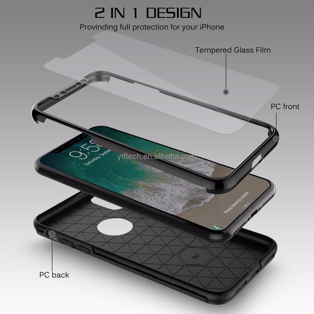 360 protect drawing Material 3 in 1 Tpu + PC + Glass full cover case for Iphone X