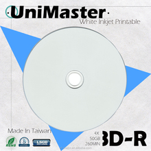Grade A+ Unimaster Quality blank BD-R 50GB bluray disc / made in Taiwan