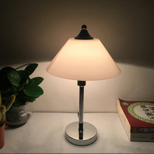 decorative hotel frosted mushroom bankers glass table lamp