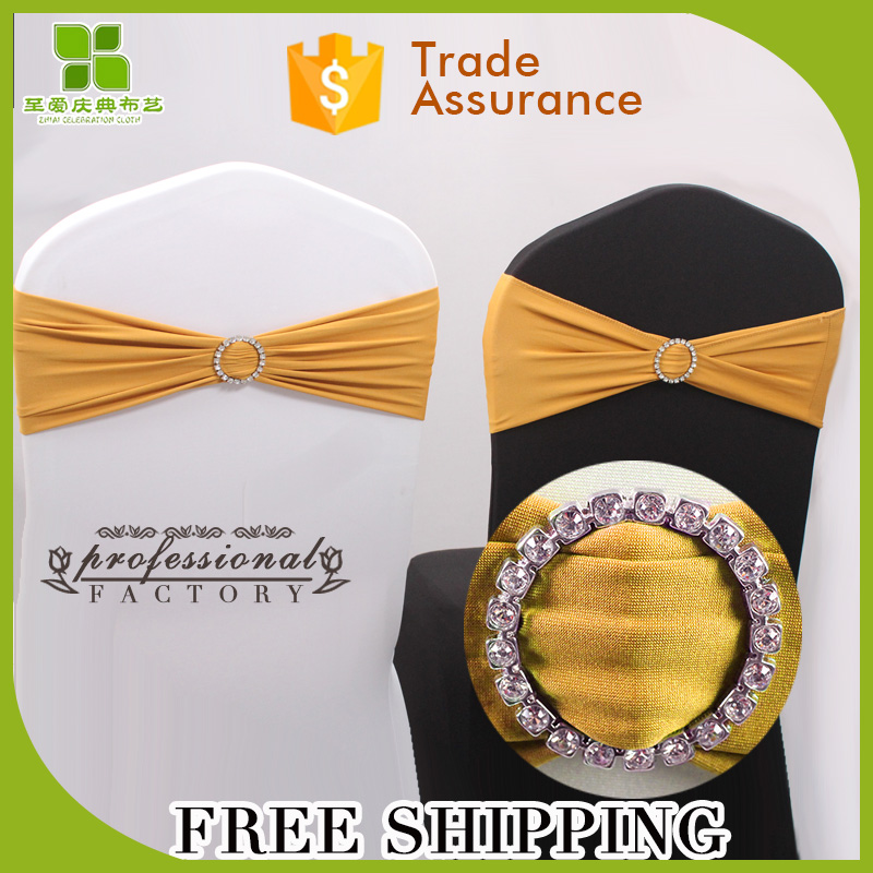 Free Shipping wedding spandex chair sash with matel buckle, rhinestone ribbon buckle