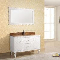 Luxurious White Painting Wooden Bathroom Cabinet with Marble Countertop