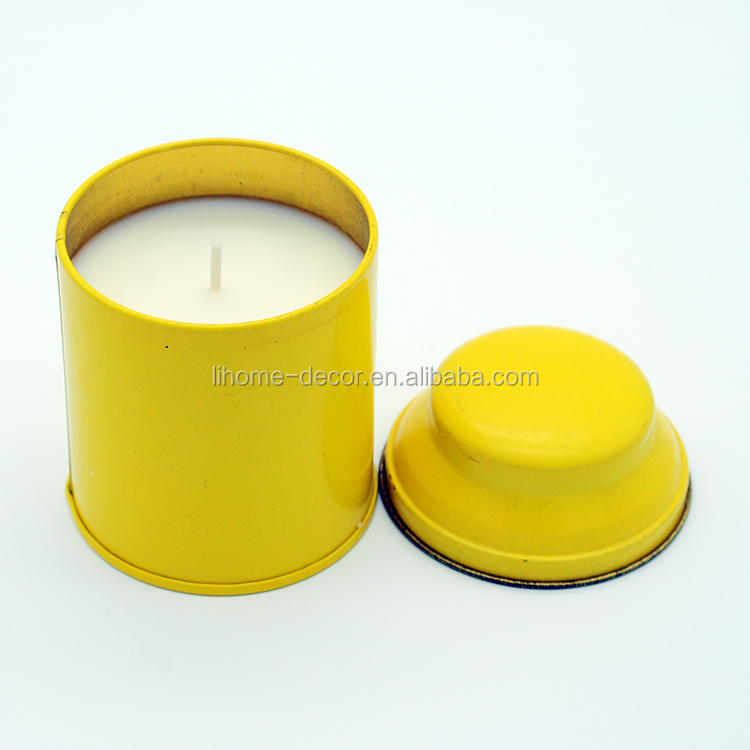 containerized aroma candle in tin with metal lid