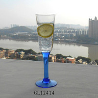 thick blue color stem glass champagne flute