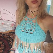 B32970A Cotton crochet Vintage bikini Top Knit Tassel design Crop Top