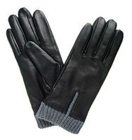 Ladies' fashion leather gloves with exquisite knit cuff, made with semi-aniline hairsheep