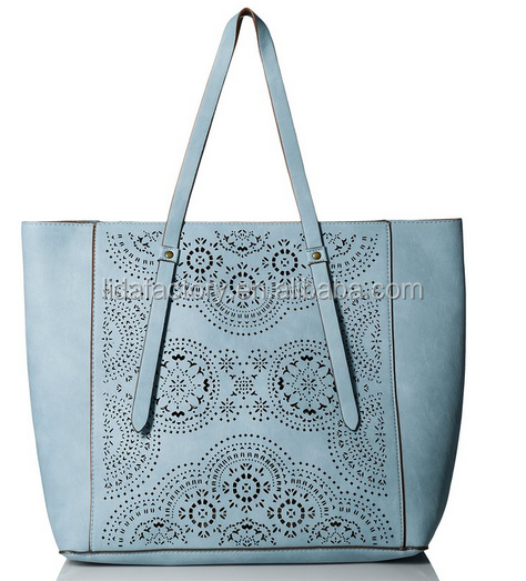 T-Shirt & Jeans Perf Reversible Tote Bag PU Leather Tote Hobo Shopper Large shopping Bag