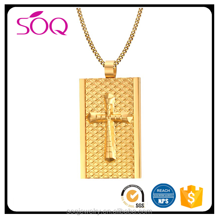Wholesale jewelry Fashion stainless steel unique western necklace 22k gold cross pendant for men